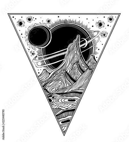 Fotografia Fantasy alien landscape, vector space illustration