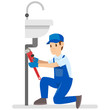 Vector illustration of professional plumbers