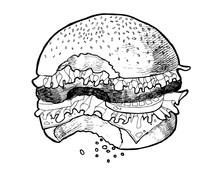 Bitten Burger. Tasty Burger.  ...