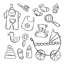 Vector Illustration Of Baby Shower Items Doodles