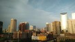 A time lapse of a cloudy sunset in Chicago, Illinois. Cityscape with landmark view. Golden hour to Blue hour.