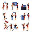 office man and woman business character set. flat design style vector graphic illustration