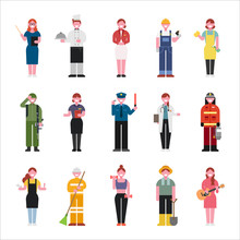 Various Job And Uniform Character Set. Flat Design Style Vector Graphic Illustration