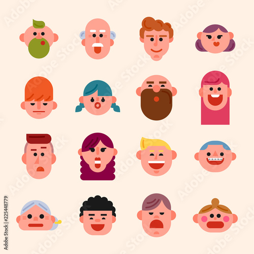 cute geometric people face icons set flat design style vector graphic illustration buy this stock vector and explore similar vectors at adobe stock adobe stock style vector graphic illustration