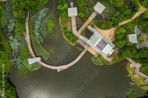 Fotomural Top down view of wetland park