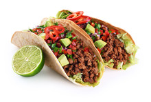Mexican Tacos With Beef, Tomat...