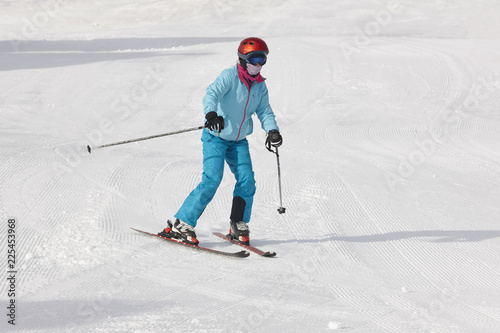 Foto op Canvas Wintersporten Children starting to learn how to ski. Winter sport