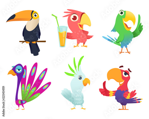 Poster Oiseaux, Abeilles Tropical parrots characters. Feathered exotic macaw birds pets colored wings funny exotic flying arara action poses vector pictures. Animal bird character various colored illustration
