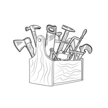 Vector Hand Drawn Woodwork Equipment In Wooden Toolbox Isolated Illustration. Toolbox With Hammer And Tool Equipment