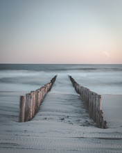 Calm Sunset Over Beach In Netherlands