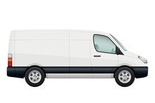 Mini Van Car. Side View Of White Minivan Isolated On White. Vehicle Minibus Or Wagon. Vector Illustration