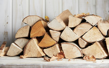 Stacked Woodpile Of Dried Wood...