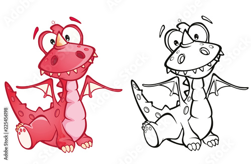 Poster Chambre bébé Illustration of a Cute Red Dragon. Cartoon Character. Outline Draving