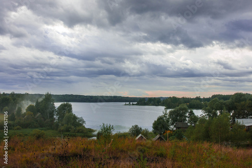 Poster Donkergrijs Landscape of middle belt of Russia with lake Valdai