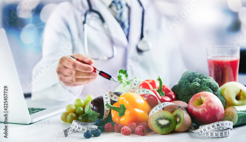 Fototapeta Modern doctor or pharmacy agent contact for healthy food and diet obraz