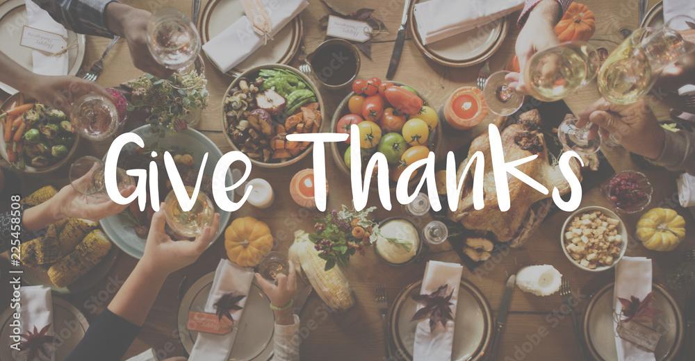 Fototapety, obrazy: Thnaksgiving Blessing Celebrating Grateful Meal Concept