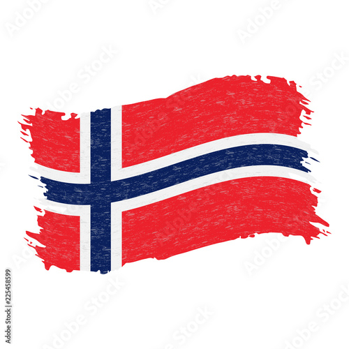 Photo  Flag of Norway, Grunge Abstract Brush Stroke Isolated On A White Background