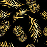 Vector Illustration. Summer golden pineapples seamless pattern. Tropical decorative fruit icons. Hand draw paint ananases and tropical leaf and on black background - 225459378