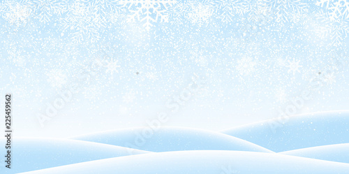 Colorful naturalistic winter background with falling snow on drifts Canvas Print