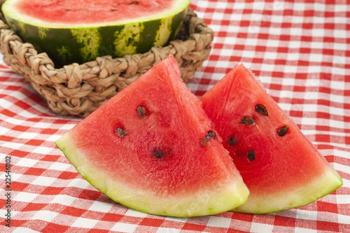 Watermelon Slices on Picnic Table