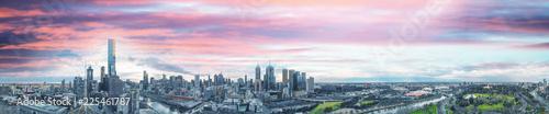 Recess Fitting F1 Melbourne, Australia. Sunset aerial panorama of city skyline