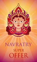 Navratry sale offer concept banner. Cartoon illustration of navratry sale offer vector concept banner for web design
