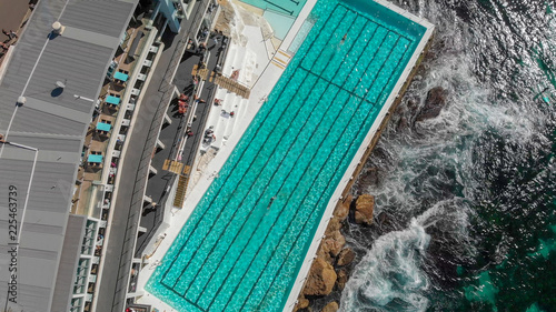 Foto op Plexiglas Oceanië Aerial overhead view of Bondi Beach Pools area, Australia