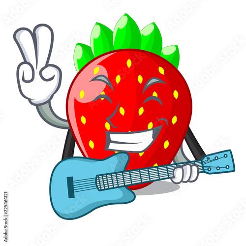 Fotografija  With guitar fresh ripe strawberry isolated on mascot