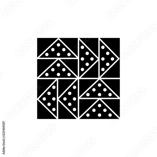 Black & white vector illustration of flying geese quilt pattern. Flat icon of quilting & patchwork geometric design template. Isolated on white background.