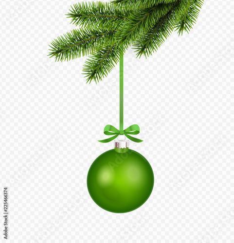Vector green christmas decoration with pine branch isolated on transparent background Obraz na płótnie