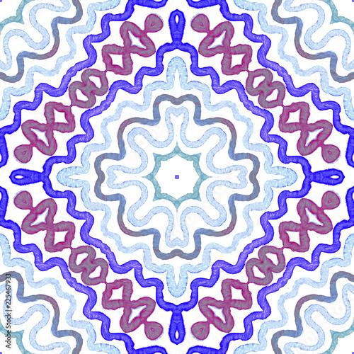 Fotografie, Obraz  Blue Geometric Watercolor