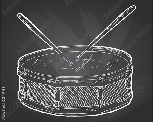 Cuadros en Lienzo Snare drum and sticks sketch drawing isolated on chalkboard background