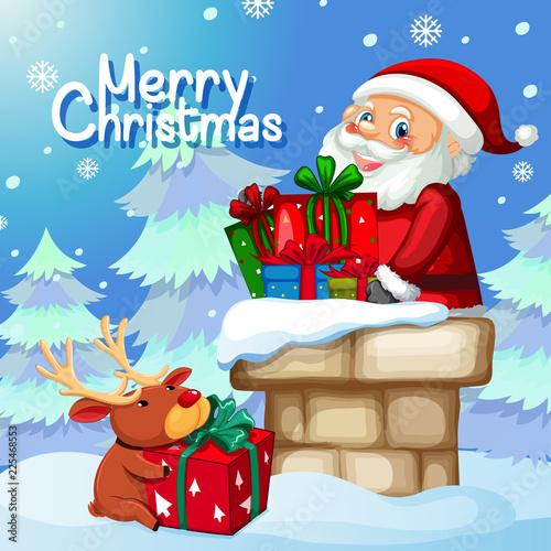 Staande foto Kids Santa delivery gift through chimney