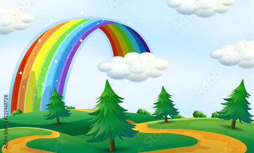 Poster Kids Beautiful landscape with rainbow