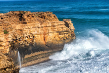 Powerful Sea Waves Against Rocks, Great Ocean Road