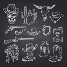 Vector Hand Drawn Wild West Co...