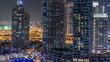 Dubai Marina at night timelapse, Glittering lights and tallest skyscrapers