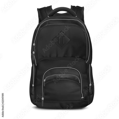 Obraz Vector Black Backpack bag - fototapety do salonu