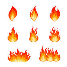Collection Of Flat Vector Flare Flames And Bonfire. Nine Type Of Burning Fire Flame And Hot Blazing Campfire Illustration Set In Red, Orange And Yellow Colors Isolated On White Background.