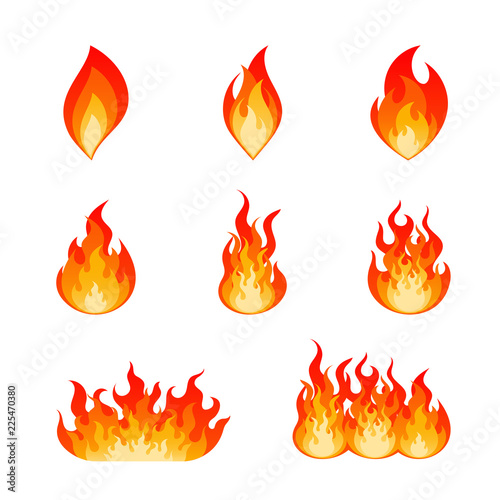 Collection of flat vector flare flames and bonfire Fototapeta