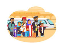 Refugees Families With Baggage At Railway Station