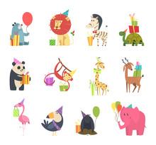 Wild Animals With Gifts. Festive Holidays Celebration With Elephant Hedgehog Zebra Bear Turtle Lion And Monkey Vector Cartoon Characteres. Greeting Birthday, Celebration And Holiday Illustration