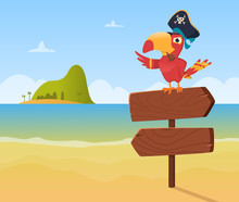 Pirate Parrot. Funny Colored B...