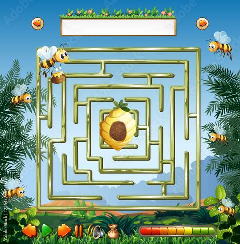 Staande foto Kids Bee maze game template