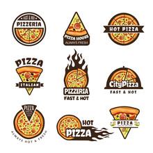 Pizza Labels. Pizzeria Logo Design Italian Cuisine Pie Food Ingredients Vector Colored Badges Template. Badge Of Pizzeria Italian, Label Menu Illustration