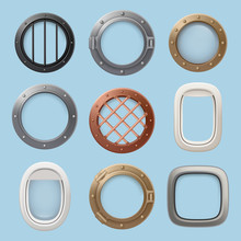 Aircraft Window. Plane, Jet Ship Or Submarine Interior With Futuristic Glass Portholes Of Various Shapes Vector Collection. Illustration Of Porthole Glass Frame, Window Submarine And Airplane