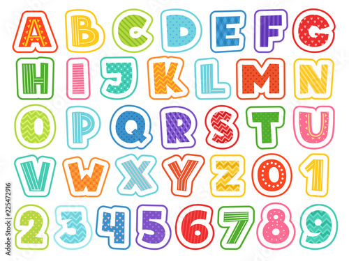 Plakat abecadło - alfabet cartoon-alphabet-cute-colored-letters-numbers-signs-and-symbols-for-school-kids-and-childrens-vector-funny-font-alphabet-and-colored-abc-font-letter-and-number-illustration