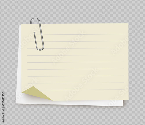 Fotografía Vector realistic white yellow note paper from note pad with paper clip on transparent background