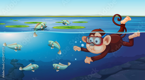 Canvas Prints Kids Monkey swimming underwater scene