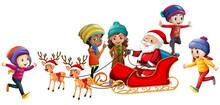 Santa And Children On White Background